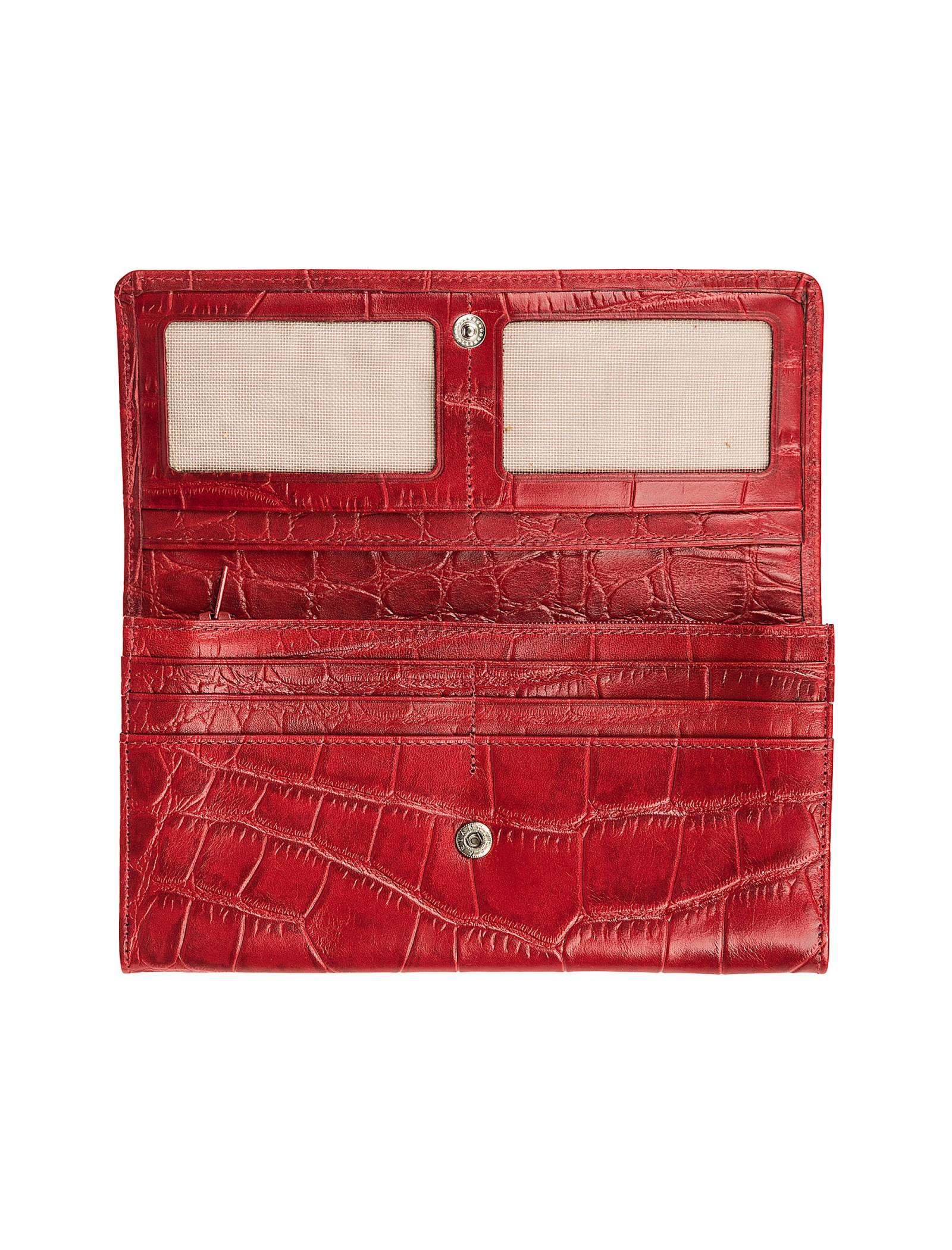 کیف پول چرم زنانه - شهر چرم - قرمز - 3