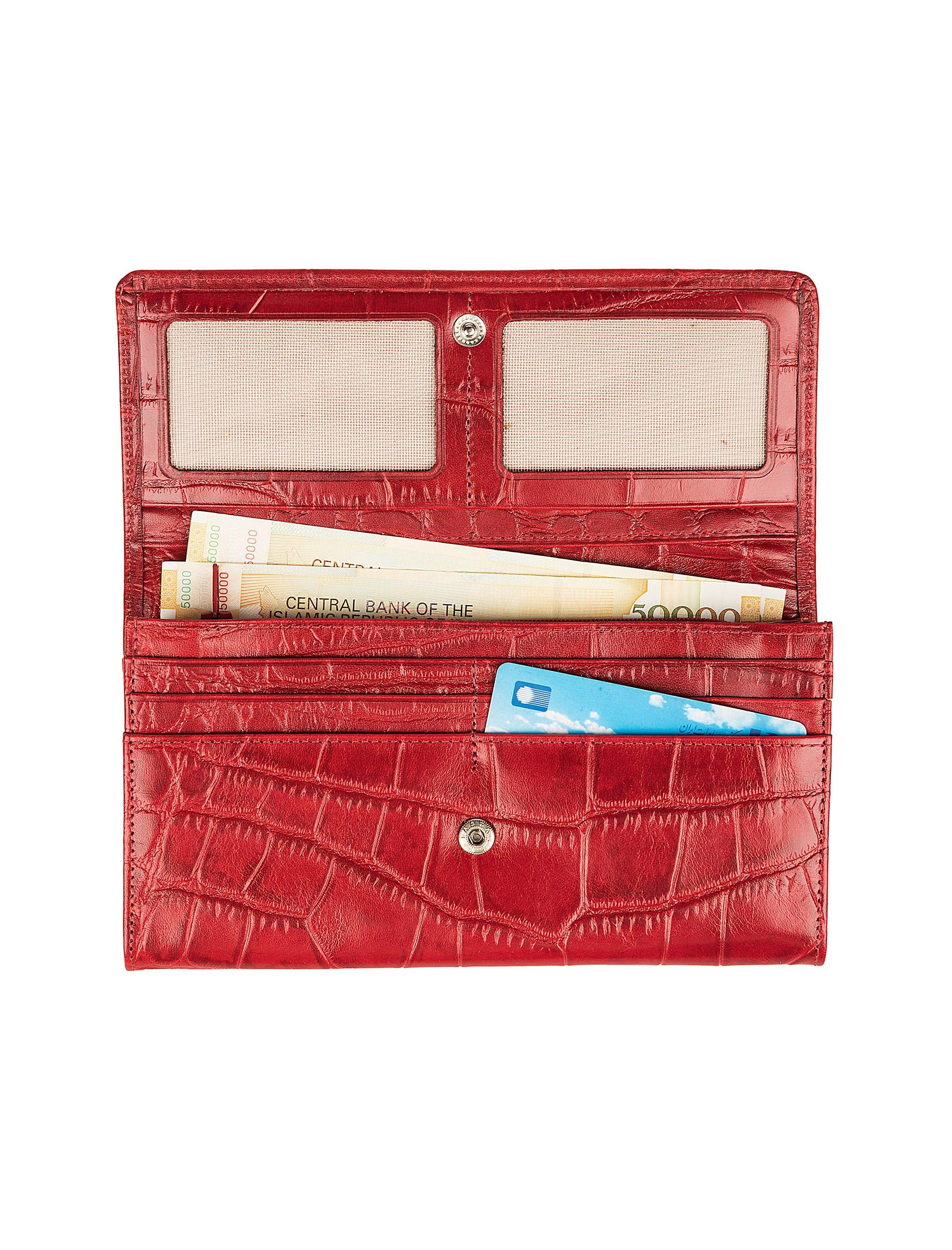 کیف پول چرم زنانه - شهر چرم - قرمز - 4
