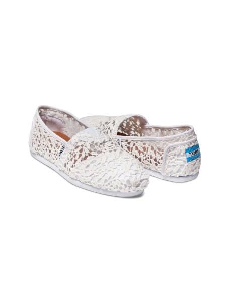 کفش تخت نخی زنانه - سفيد - 3