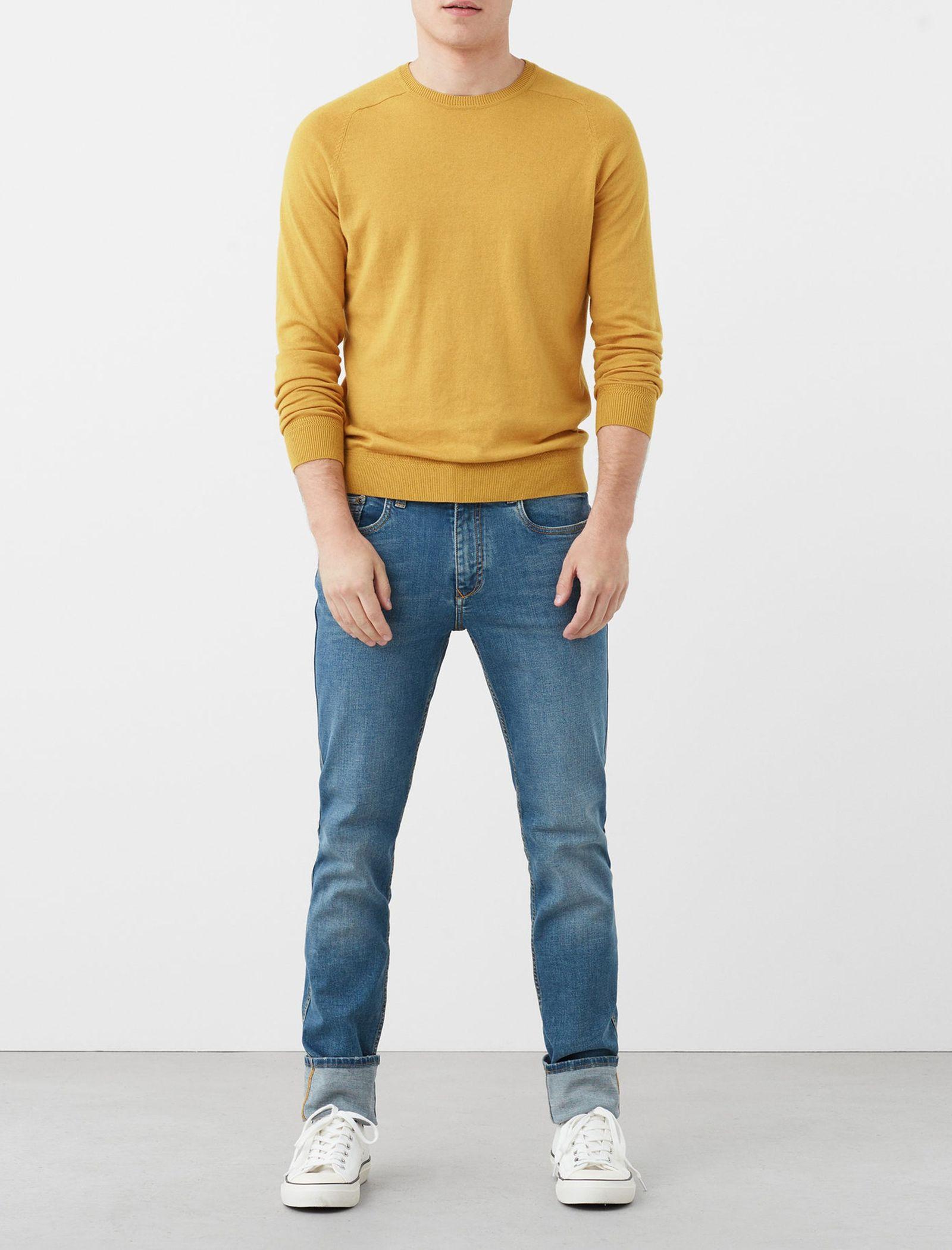 شلوار جین جذب مردانه - مانگو - آبي - 2
