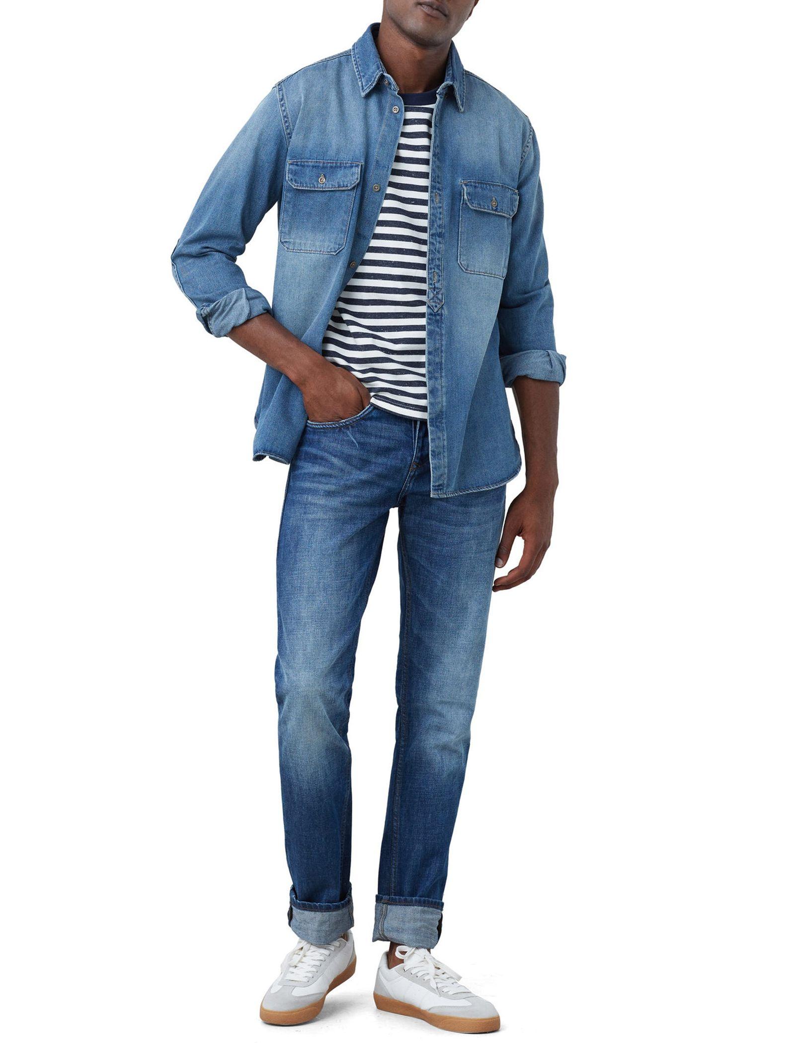 شلوار جین جذب مردانه - مانگو - آبي روشن - 2