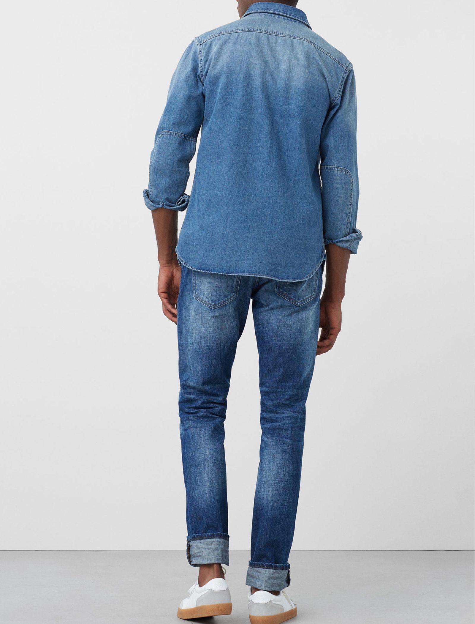 شلوار جین جذب مردانه - مانگو - آبي روشن - 3