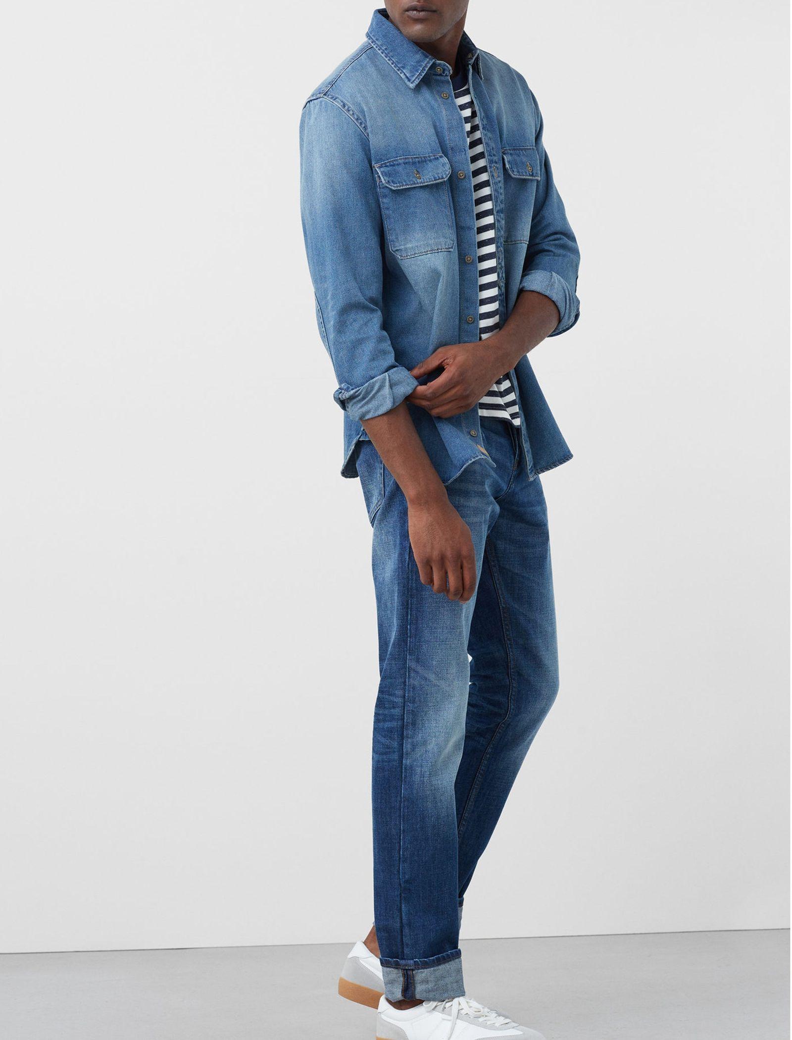 شلوار جین جذب مردانه - مانگو - آبي روشن - 4