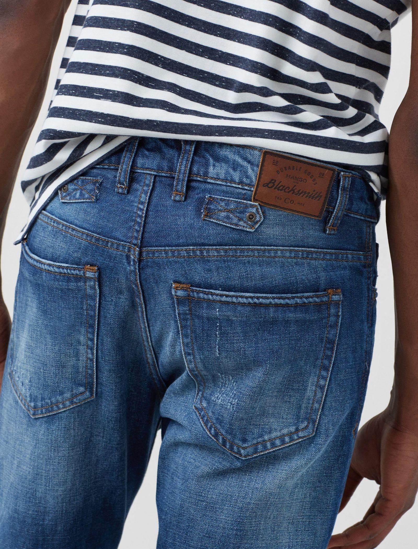 شلوار جین جذب مردانه - مانگو - آبي روشن - 6