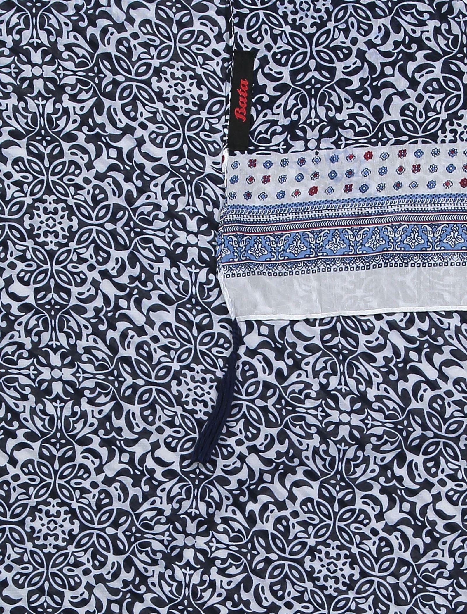 شال نخی طرح دار زنانه - باتا - سفيد و آبي - 2