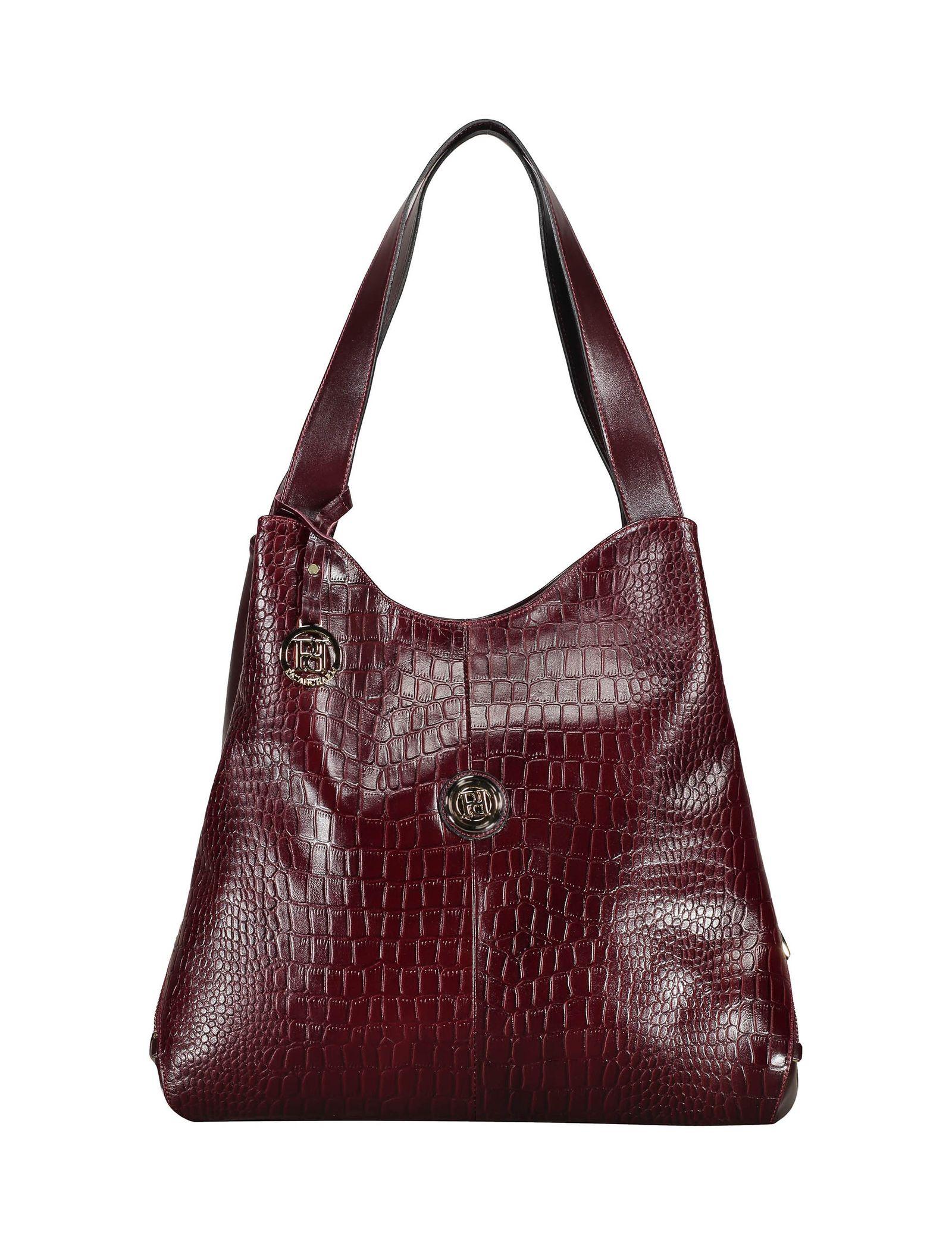 کیف دوشی روزمره زنانه - پاتن چرم - زرشکي سنگي  - 1