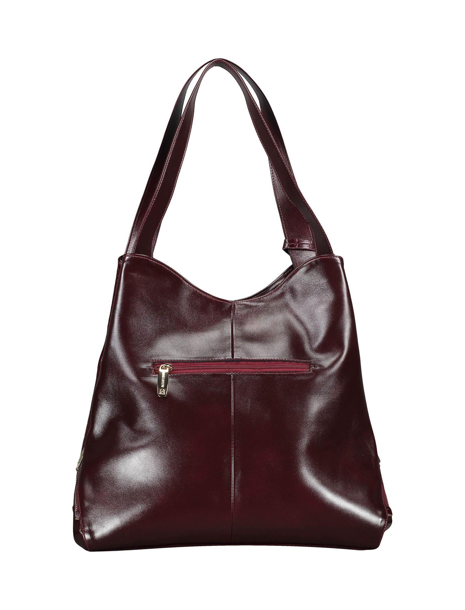 کیف دوشی روزمره زنانه - پاتن چرم - زرشکي سنگي  - 2