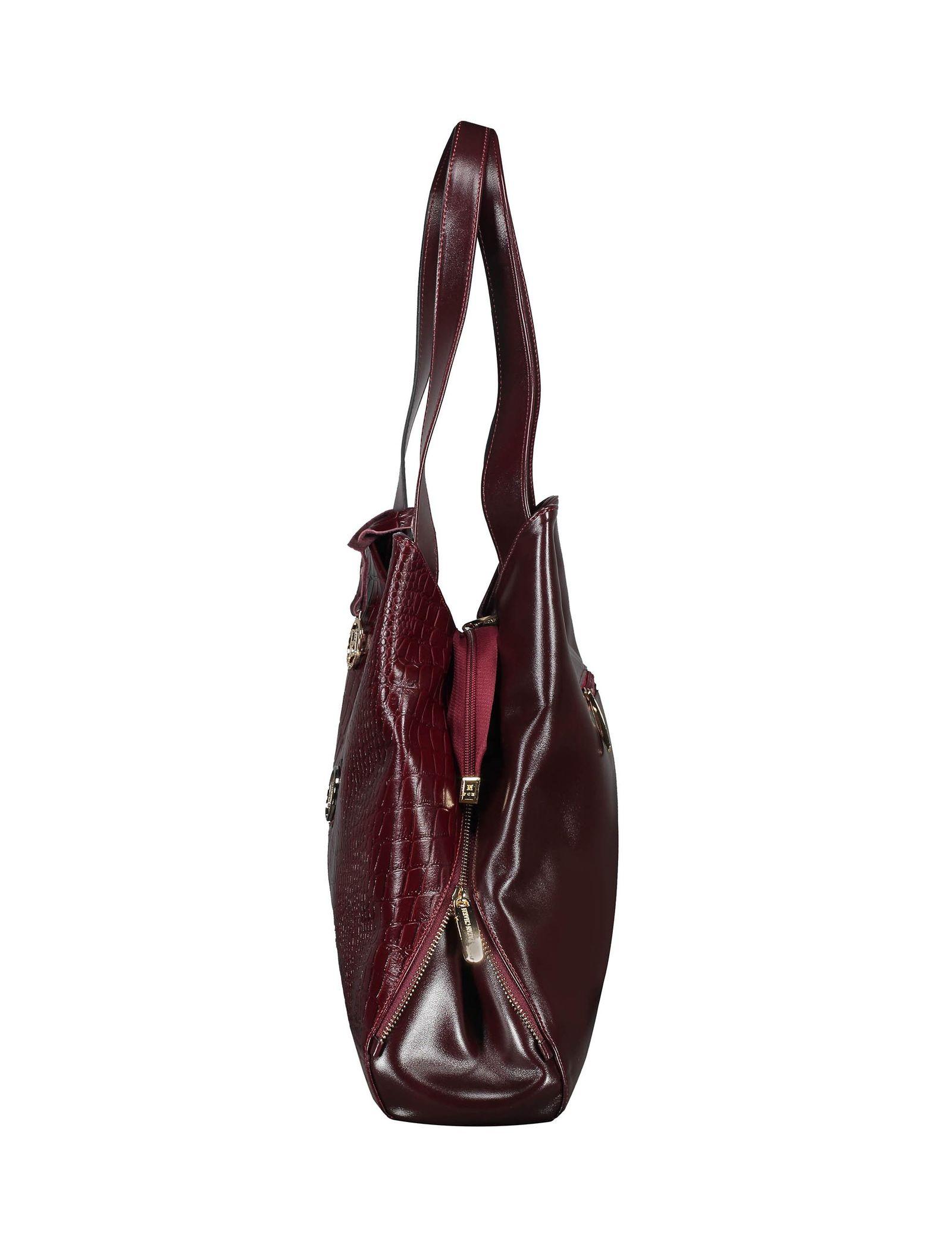 کیف دوشی روزمره زنانه - پاتن چرم - زرشکي سنگي  - 4