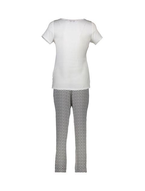تاپ و شلوار راحتی ویسکوز زنانه - سفيد و مشکي - 2