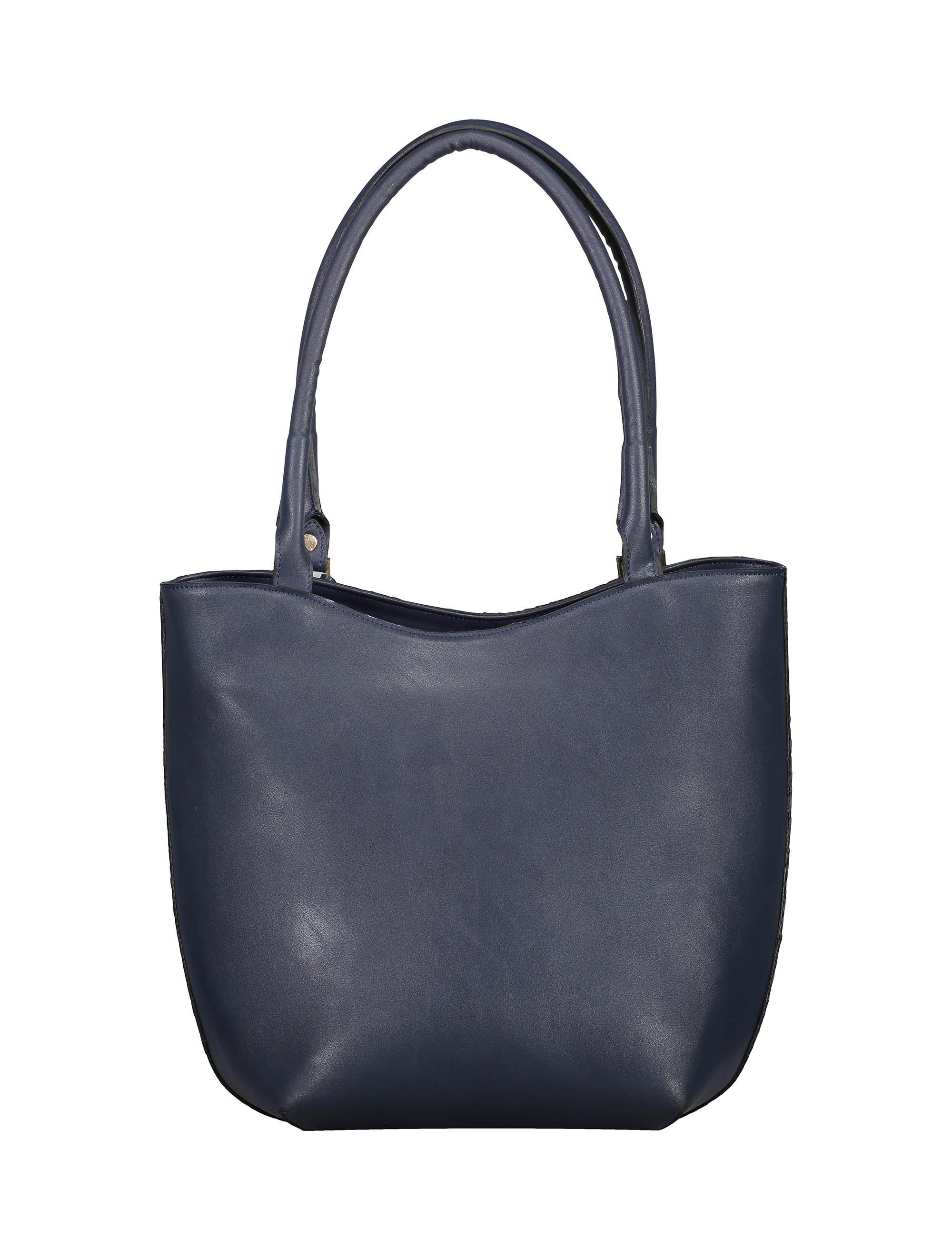 کیف دوشی روزمره زنانه - پاتن چرم - سرمه اي سنگي  - 2