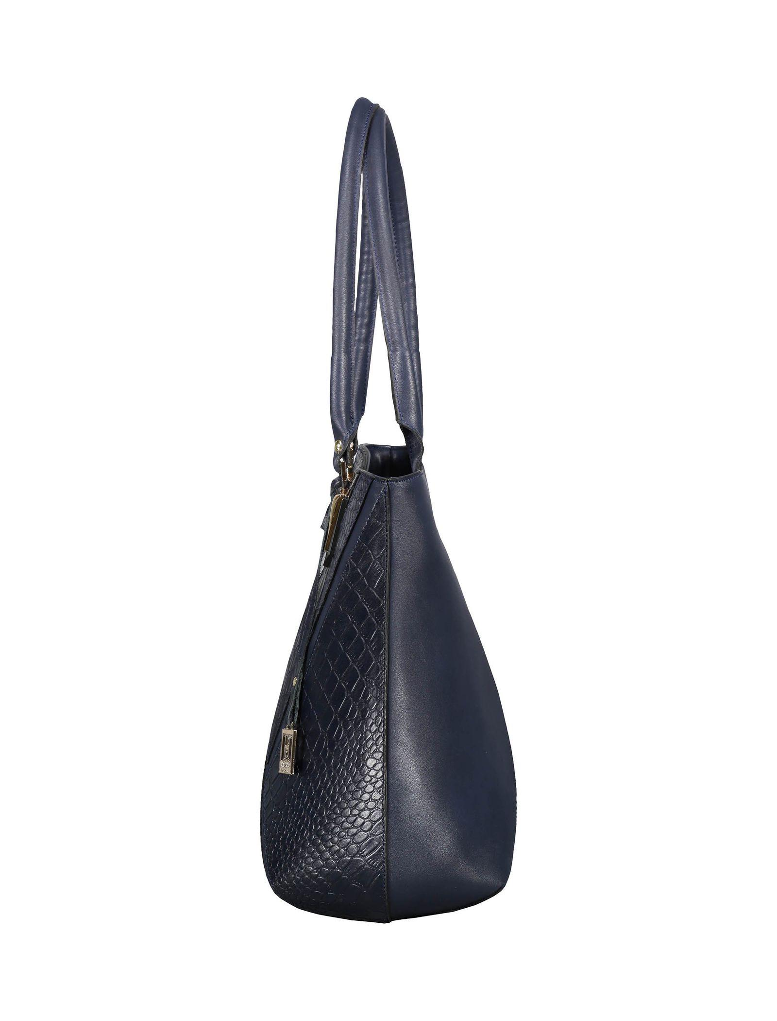 کیف دوشی روزمره زنانه - پاتن چرم - سرمه اي سنگي  - 4