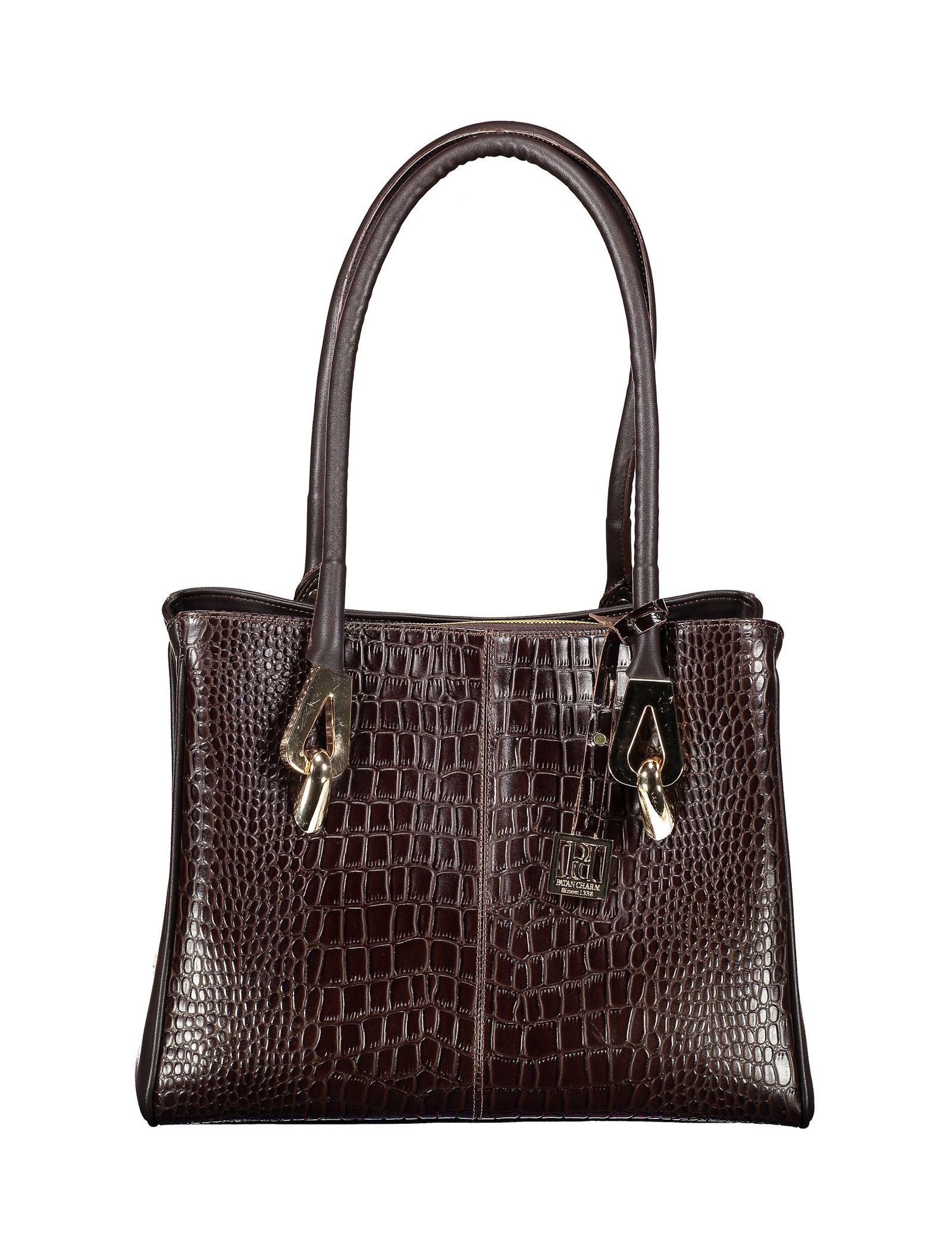 کیف دوشی روزمره زنانه - پاتن چرم - سنگي قهوه اي - 1