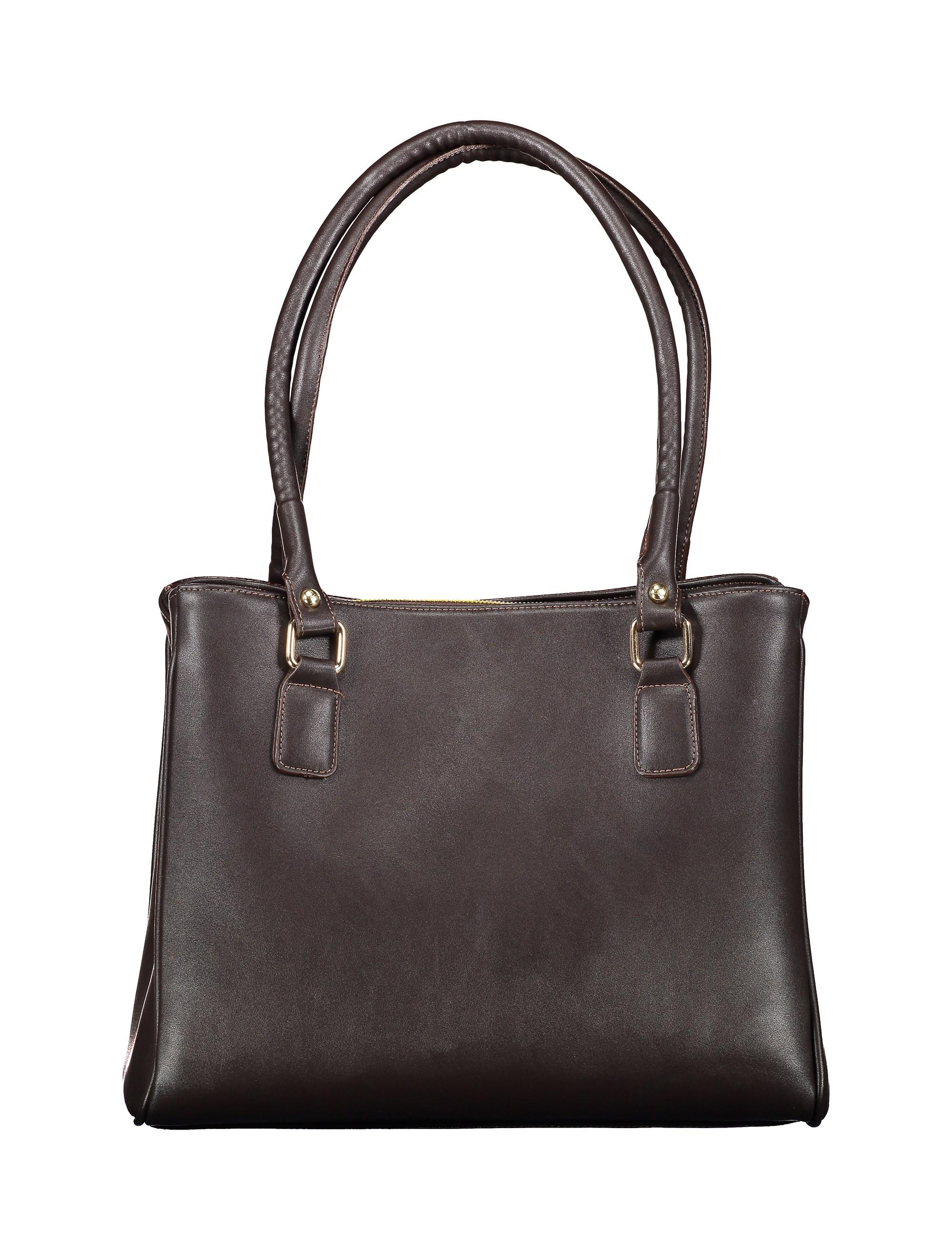 کیف دوشی روزمره زنانه - پاتن چرم - سنگي قهوه اي - 2