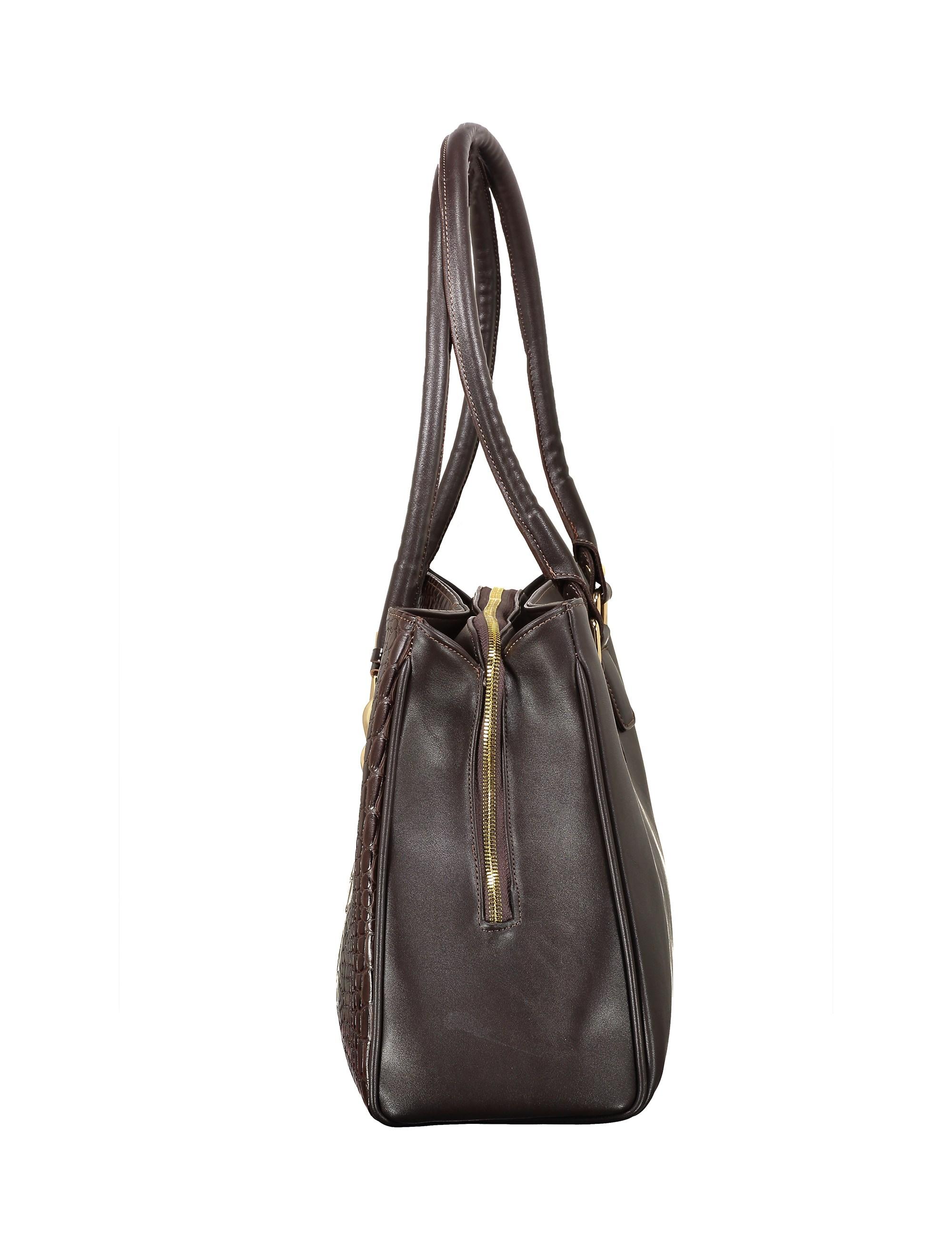 کیف دوشی روزمره زنانه - پاتن چرم - سنگي قهوه اي - 4