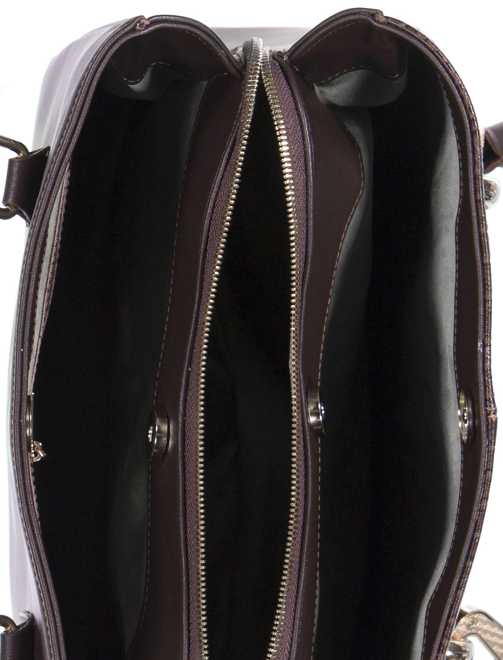 کیف دوشی روزمره زنانه - پاتن چرم - سنگي قهوه اي - 5