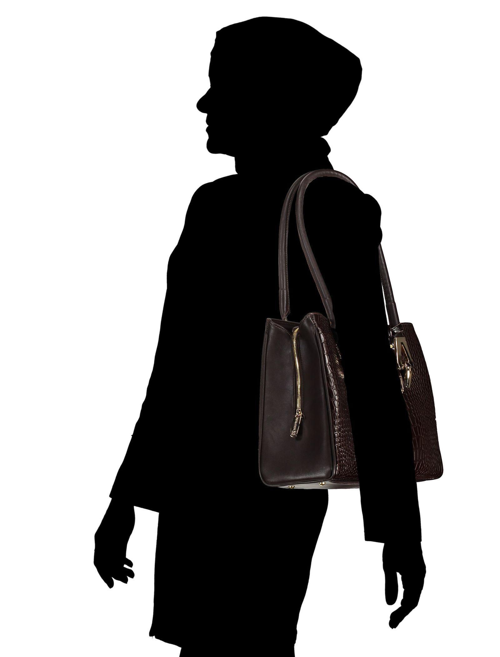کیف دوشی روزمره زنانه - پاتن چرم - سنگي قهوه اي - 6