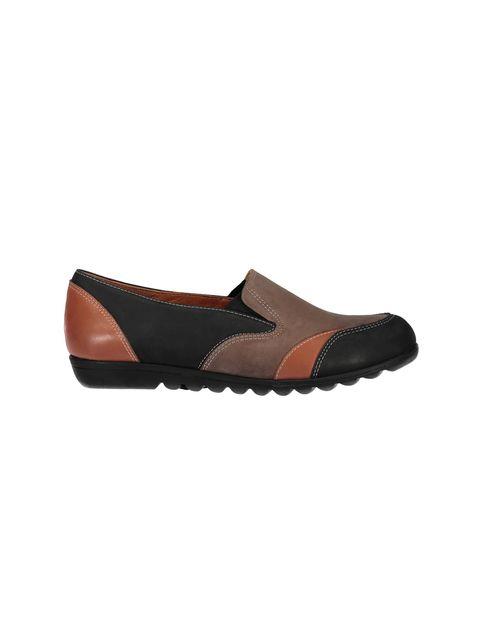 کفش تخت جیر زنانه - شهر چرم - مشکي و نارنجي و قهوه اي - 1