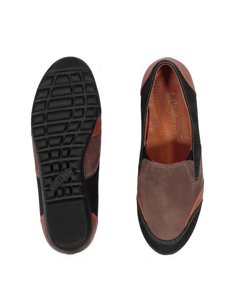 کفش تخت جیر زنانه - شهر چرم - مشکي و نارنجي و قهوه اي - 2