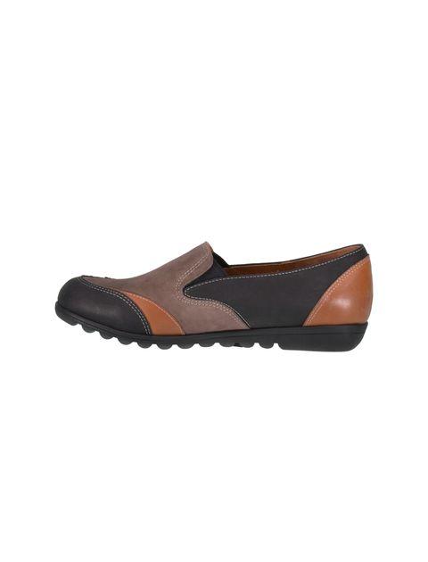 کفش تخت جیر زنانه - شهر چرم - مشکي و نارنجي و قهوه اي - 3
