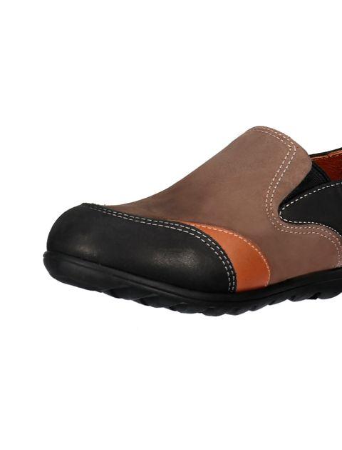کفش تخت جیر زنانه - شهر چرم - مشکي و نارنجي و قهوه اي - 6