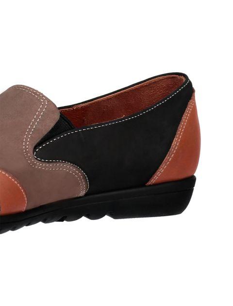 کفش تخت جیر زنانه - شهر چرم - مشکي و نارنجي و قهوه اي - 7
