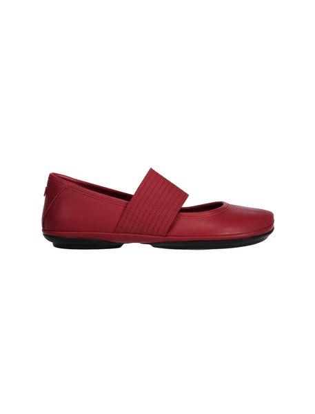 کفش تخت چرم زنانه - قرمز تيره - 1