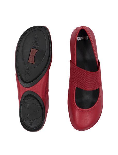 کفش تخت چرم زنانه - قرمز تيره - 2