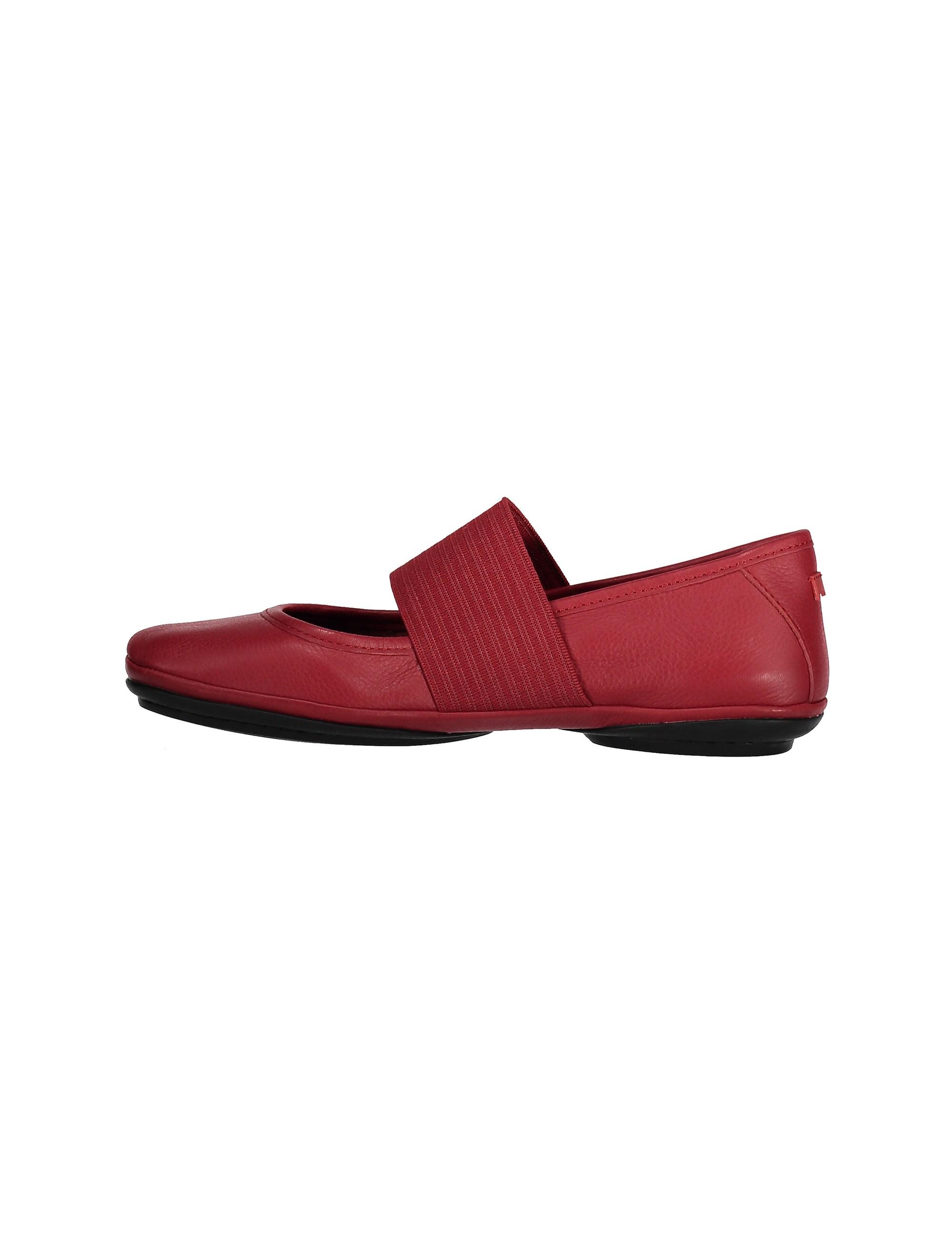 کفش تخت چرم زنانه - قرمز تيره - 3