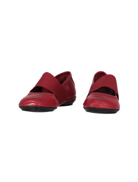 کفش تخت چرم زنانه - قرمز تيره - 4