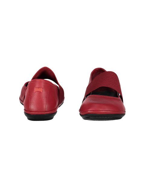 کفش تخت چرم زنانه - قرمز تيره - 5