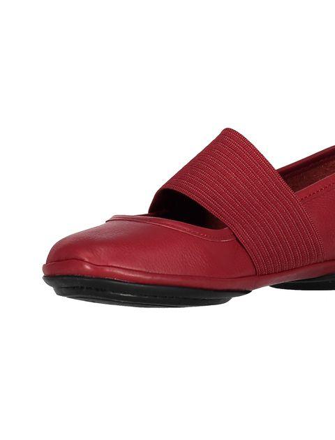 کفش تخت چرم زنانه - قرمز تيره - 6