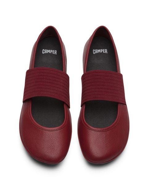 کفش تخت چرم زنانه - قرمز تيره - 7