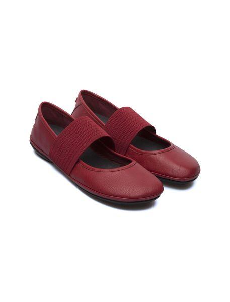 کفش تخت چرم زنانه - قرمز تيره - 8