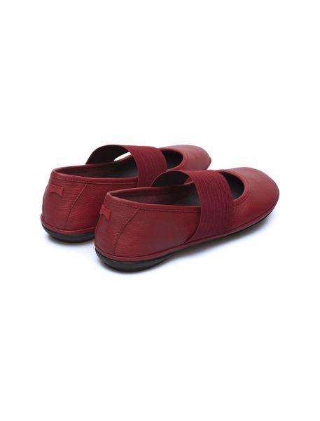 کفش تخت چرم زنانه - قرمز تيره - 9