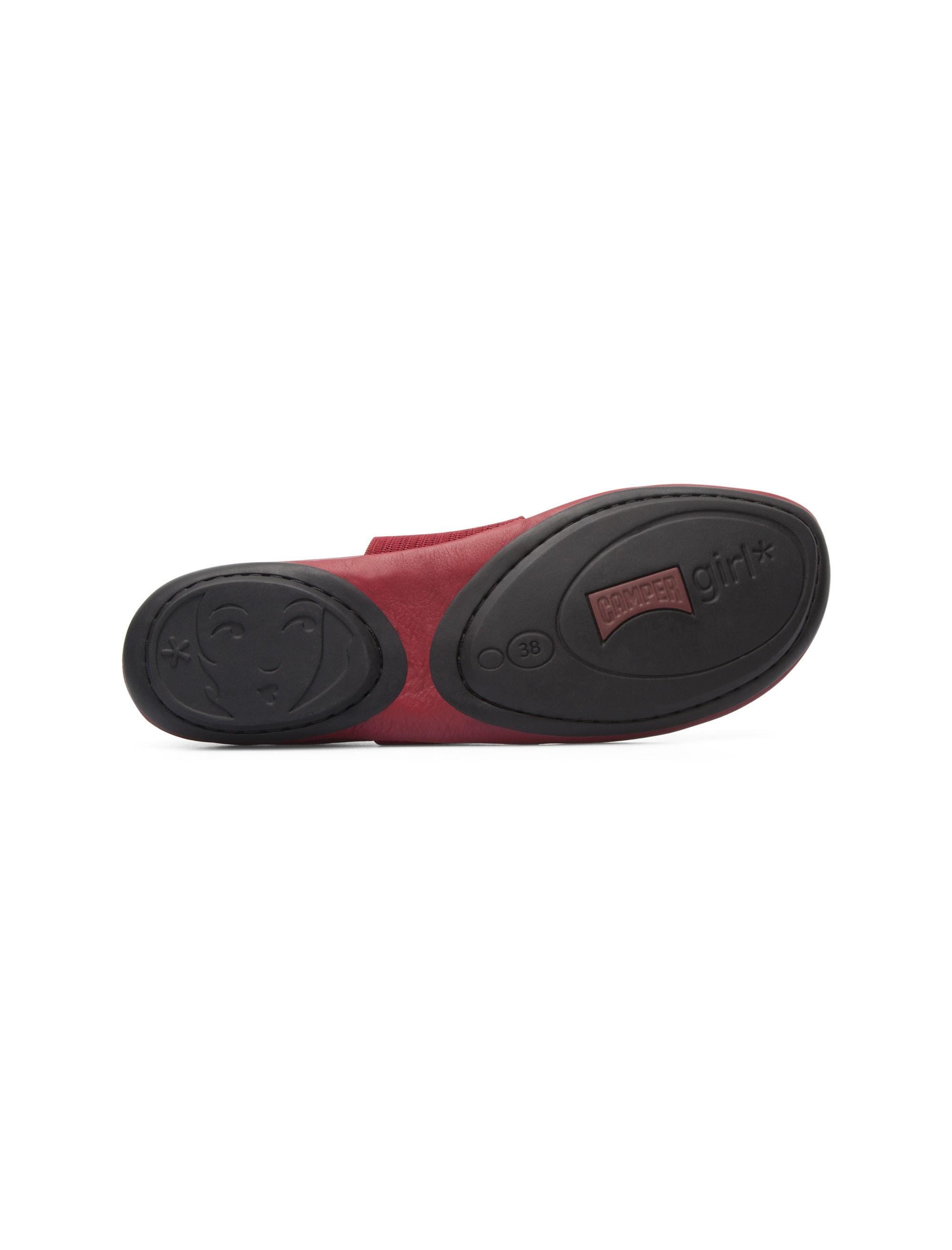 کفش تخت چرم زنانه - قرمز تيره - 10