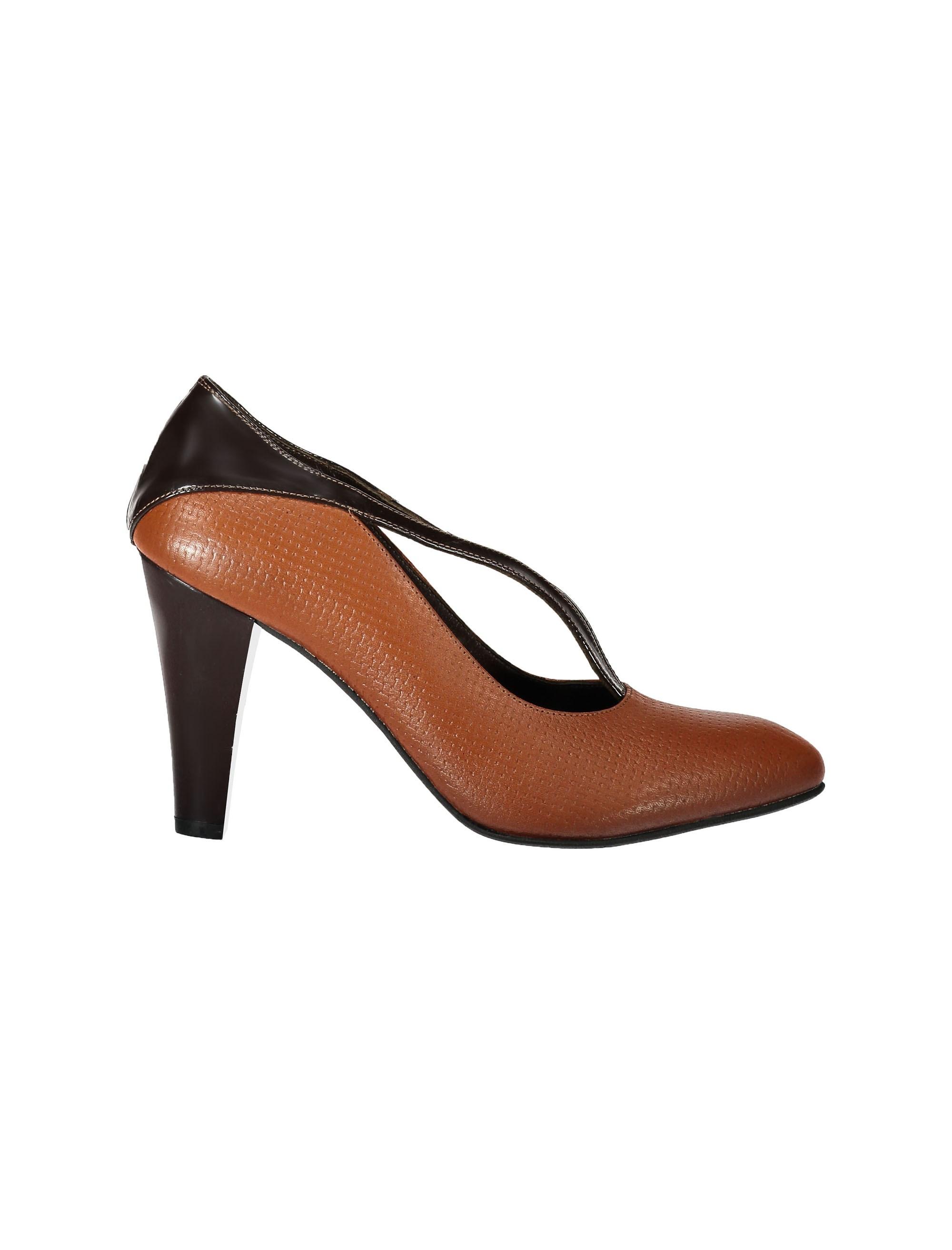 کفش پاشنه بلند چرم زنانه - قهوه اي و عسلي - 6