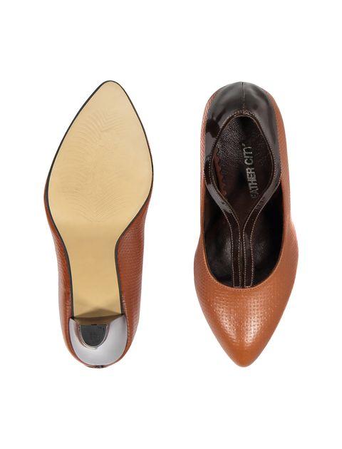کفش پاشنه بلند چرم زنانه - قهوه اي و عسلي - 1