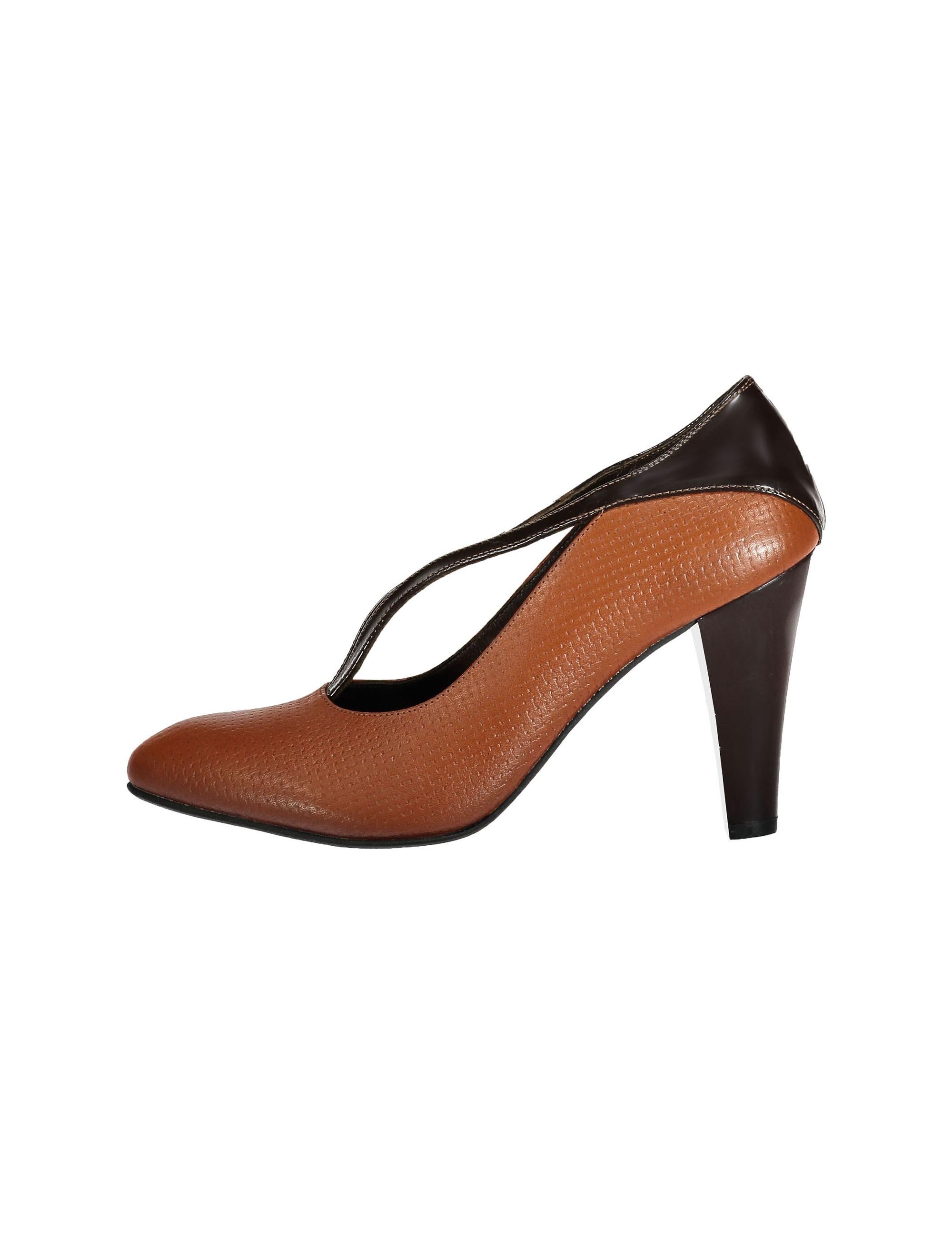 کفش پاشنه بلند چرم زنانه - قهوه اي و عسلي - 2