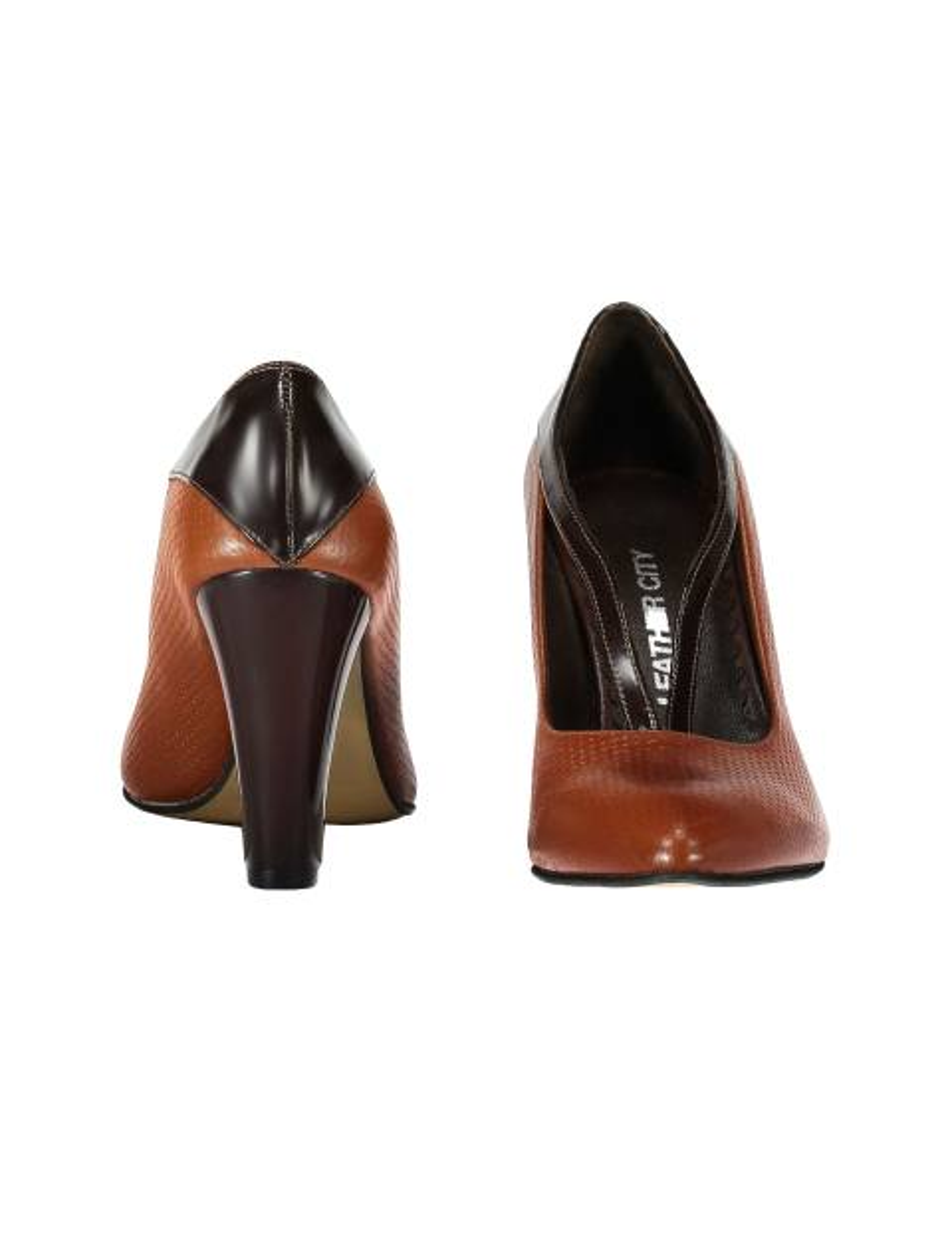 کفش پاشنه بلند چرم زنانه - قهوه اي و عسلي - 3