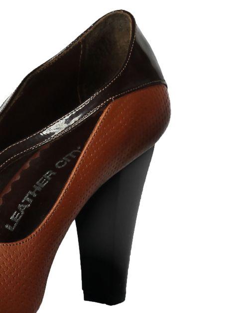 کفش پاشنه بلند چرم زنانه - قهوه اي و عسلي - 5