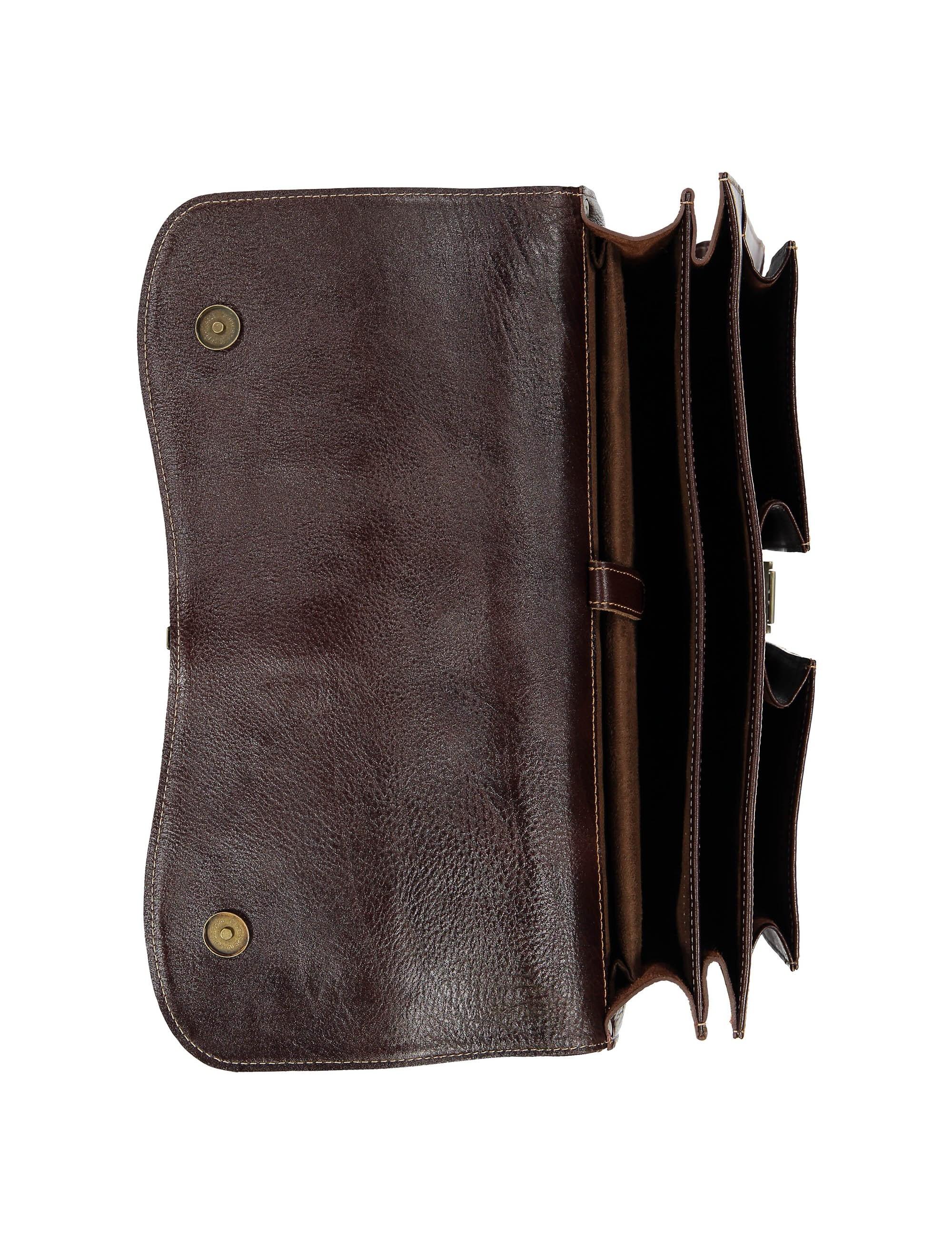 کیف دستی چرم بزرگسال - شهر چرم - قهوه اي  - 6
