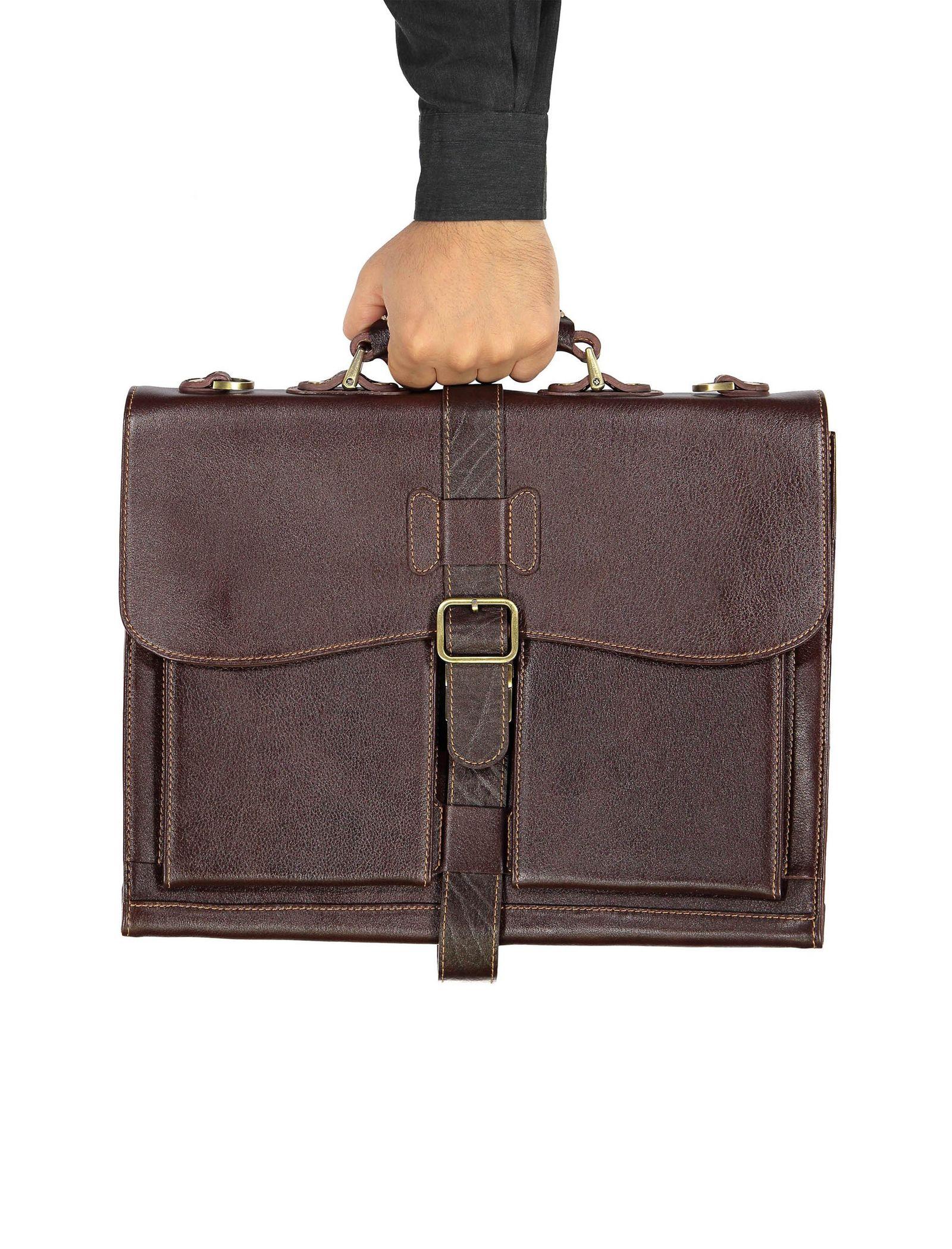 کیف دستی چرم بزرگسال - شهر چرم - قهوه اي  - 8