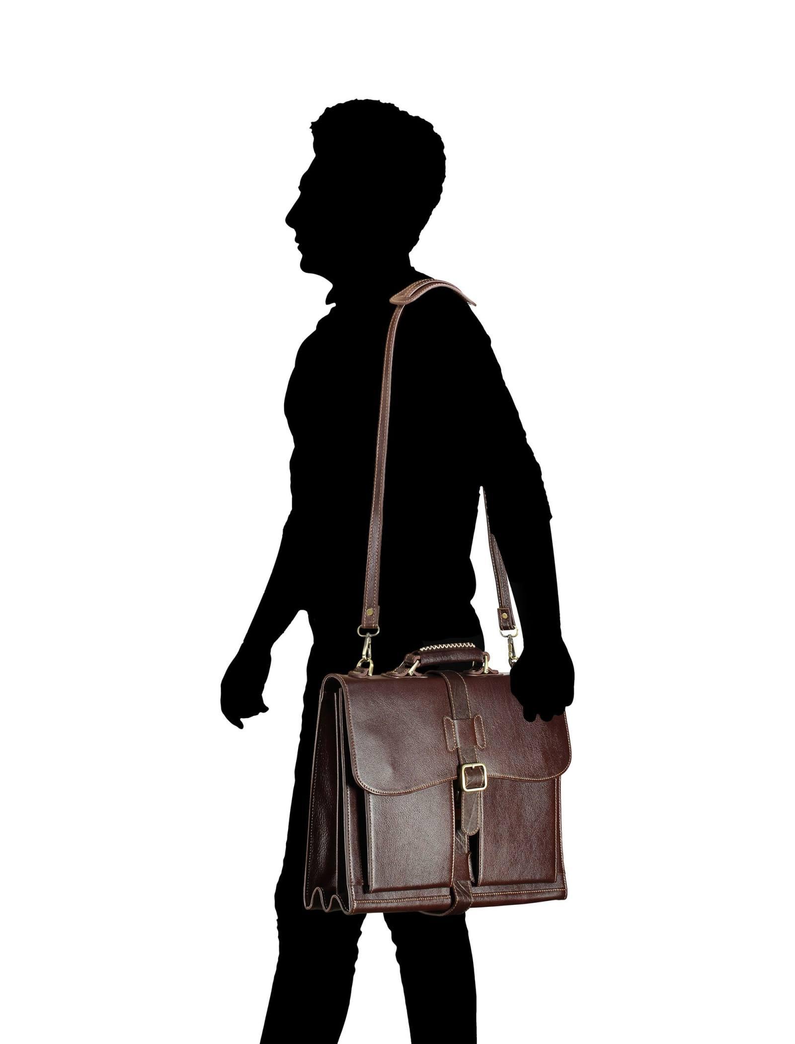 کیف دستی چرم بزرگسال - شهر چرم - قهوه اي  - 9