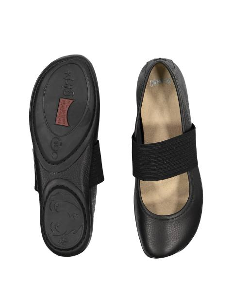 کفش تخت چرم زنانه - مشکي - 2