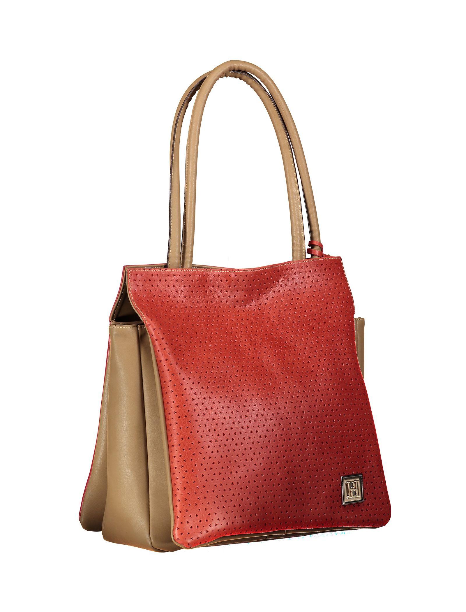 کیف دوشی روزمره زنانه - پاتن چرم - قرمز - 3