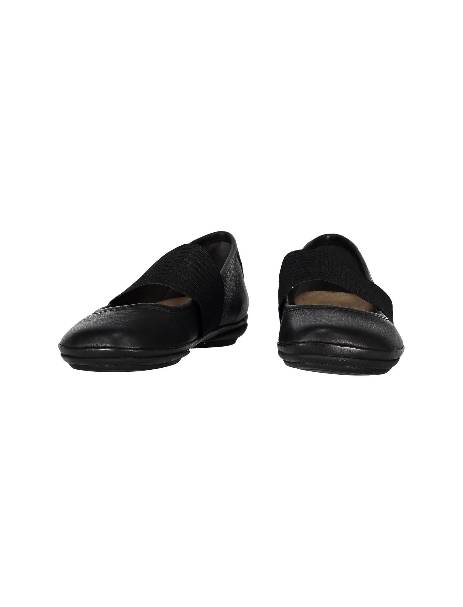 کفش تخت چرم زنانه - کمپر - مشکي - 4