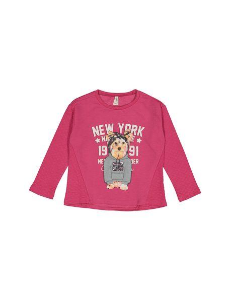 تی شرت نخی دخترانه - سرخابي - 1