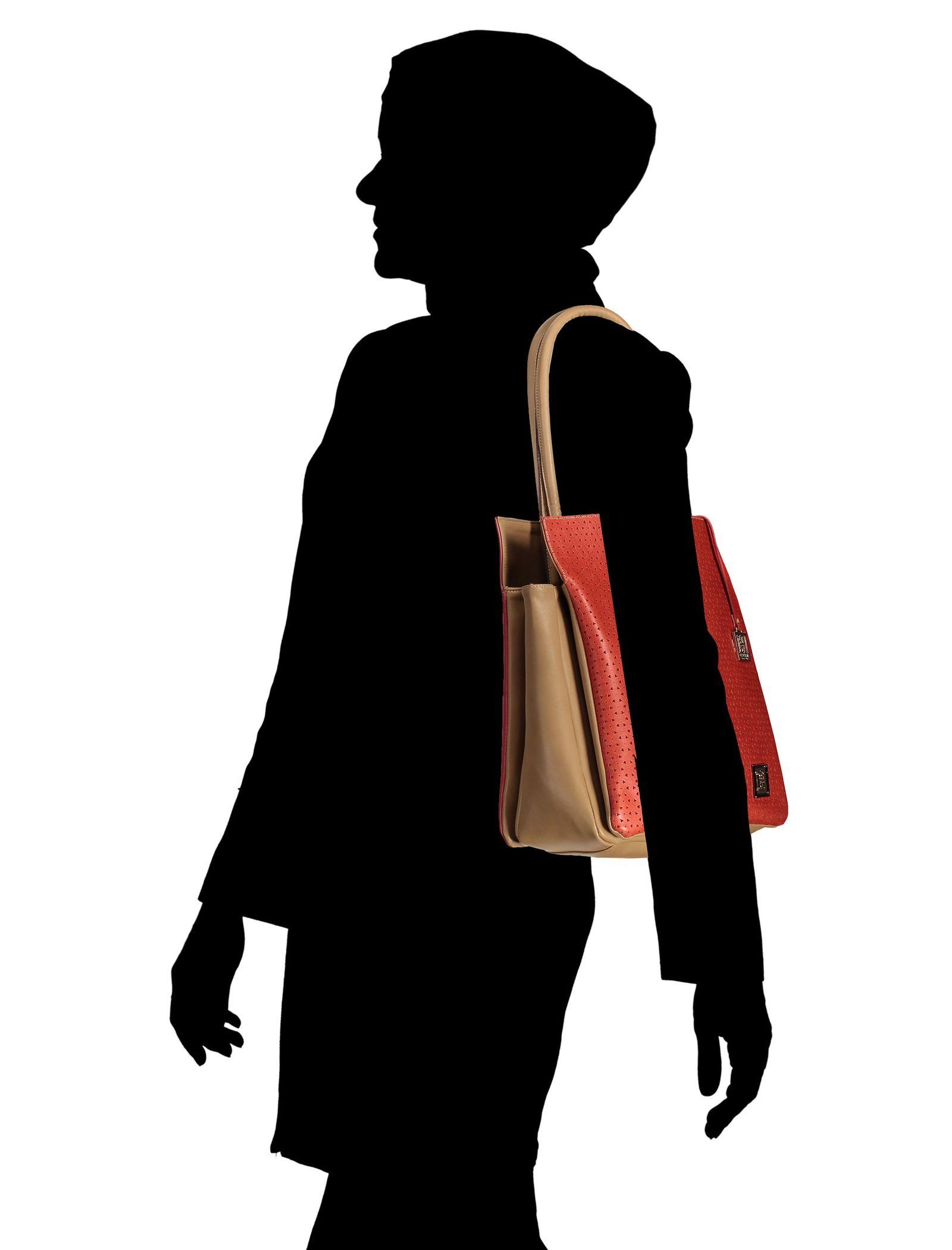 کیف دوشی روزمره زنانه - پاتن چرم - قرمز - 6