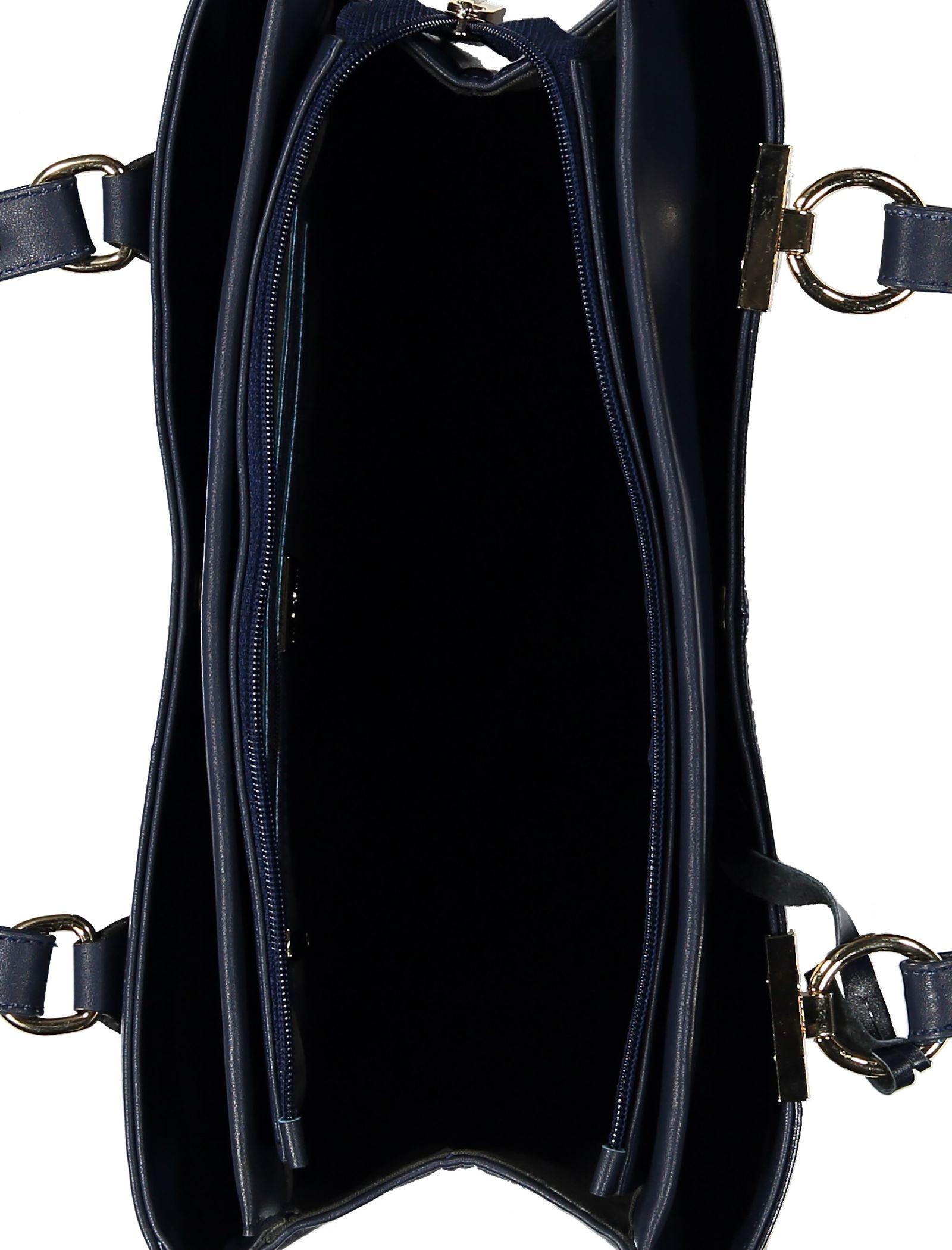 کیف دوشی روزمره زنانه - پاتن چرم - سرمه اي - 5