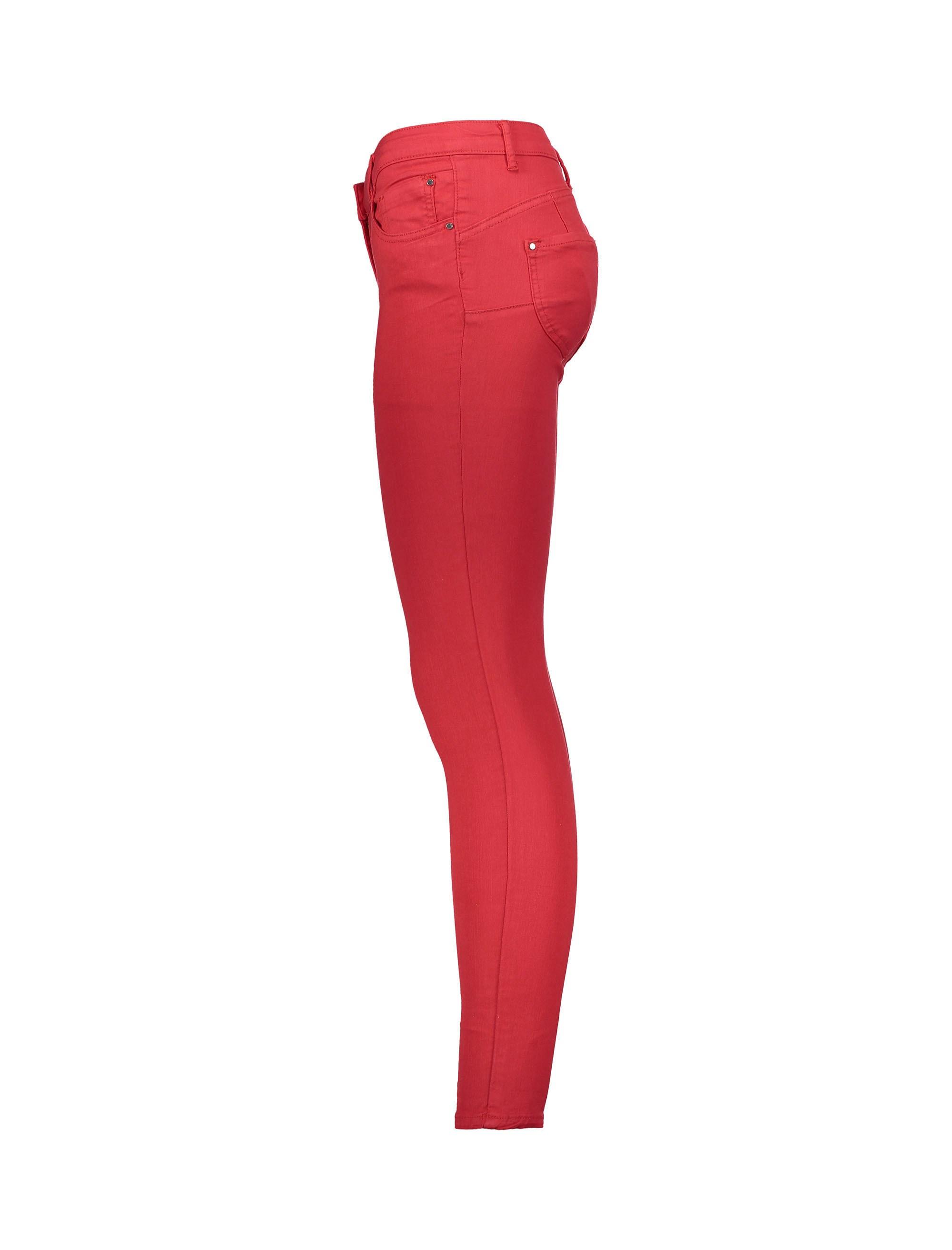 شلوار جین جذب زنانه - قرمز - 4